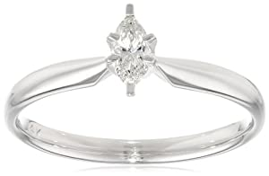 14k Yellow Gold Marquise Diamond Solitaire Engagement Ring (1/4 cttw, H-I Color, SI2-I1 Clarity), Size 7