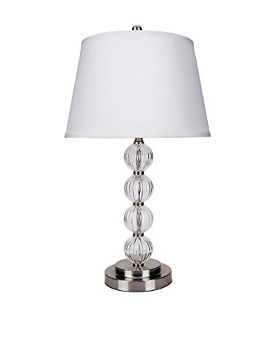 ORE International Glass Table Lamp, Satin Nickel