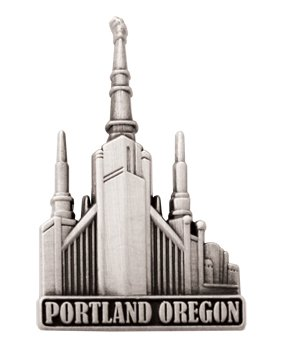LDS Mens Portland Oregon Temple Silver Steel Tie Tac / Tie Pin for Boys