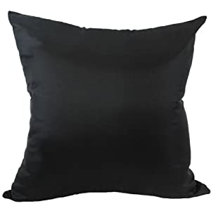 "Solid Color 18""x18"" Decorative Silk Throw Pillow Cover-Black"