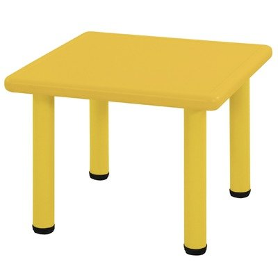 Ecr4Kids Square Plastic Kids Table Leg Height: 18, Color: Yellow
