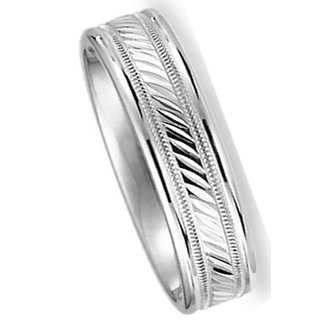 6.0 mm. 10Kt. White Gold Wedding Ring with Polished Finish and Center Design. Flat Comfort Fit Style SV59-306W6, , Finger Size 8