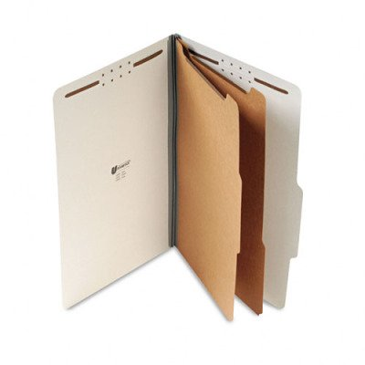 Universal 10282 Pressboard Classification Folder, Legal, Six-Section, Gray, 10/Box front-248740