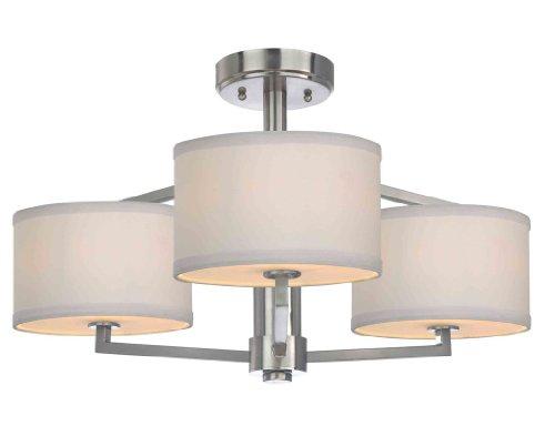 "Dolan Designs 1885 3 Light 13"" Height Semi-Flush Ceiling Fixture, Satin Nickel"