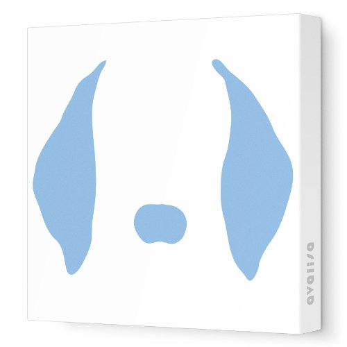 """Avalisa Stretched Canvas Nursery Wall Art, Floppy Ears, Blue, 12"""" X 12"""" front-896523"""