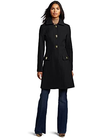 Jessica Simpson Women's Single-Breasted Walker Length Coat, Black, Large