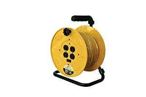 Reelcraft LH2080-143 Hand Crank Extension Cord Reel with 80-Feet of 14/3 Cord and Quad Outlet