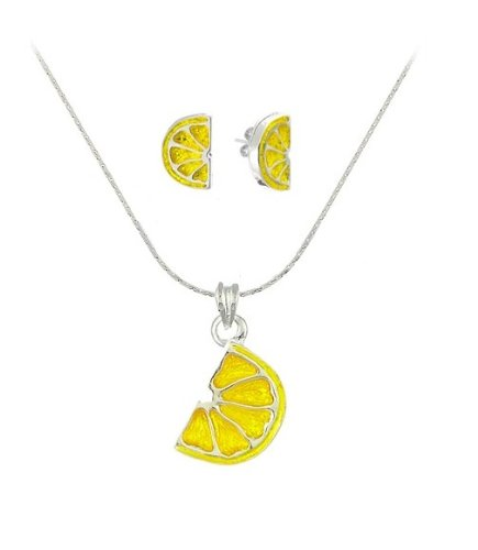 Sour Lemon Fruit Stud Earrings & Necklace Set