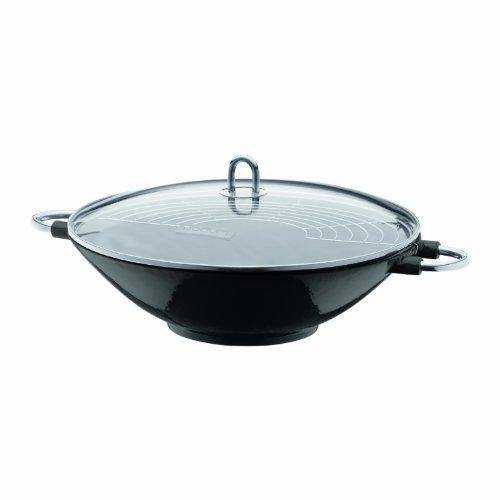 Bodum Chambord Enameled Cast Iron Wok With Glass Lid, Black