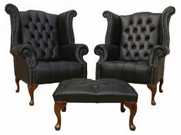 Chesterfield offer pair queen anne buttoned high back wing chair
