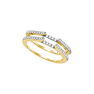 14kt Yellow Gold Womens Round Natural Diamond Ring Guard Wrap Solitaire Enhancer (.50 cttw.)