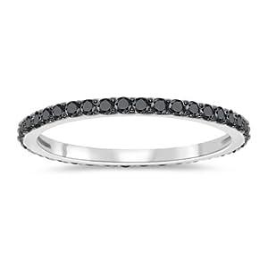 1/4 (0.21-0.27) Cts Black Diamond Eternity Ring in 10K White Gold & Black Rhodium-7.5 by Vogati