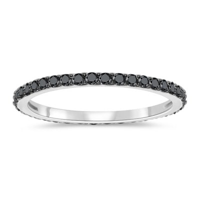 1/4 (0.21-0.27) Cts Black Diamond Eternity Ring in 10K White Gold & Black Rhodium-7.0