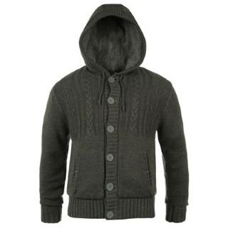 Mens Hoodie Knitting Pattern : Lee Cooper Sherpa Lined Knitted Hoody Mens Charcoal Marl Large: Amazon.co.uk:...