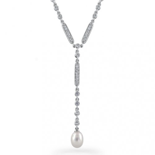 Bling Jewelry Sterling Silver CZ Pave Freshwater Pearl Necklace 16in