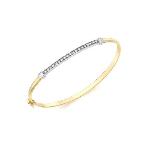 9ct Two Colour Gold Pave Set Cubic Zirconia Detail Bangle