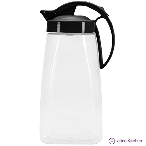 QuickPour Airtight Pitcher with Locking Spout Japanese Made - For Water, Coffee, Tea, & Other Beverages - 2.3 Quarts - Black (Airtight Drink Pitcher compare prices)