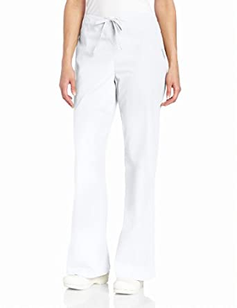 Landau Scrubs Women's Natural Flare Leg Pant, White, XX-Large