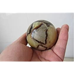 "Crystal Agate ®1.6""septarian Sphere Polished Dragon Stone Nodule Druzy Cluster Calcite Aragonite Crystal Yellow Brown Quartz Glittering Stone Ball Metaphysical Healing Mineral Specimen - Madgascar"