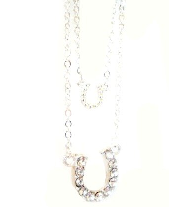 Lucky Double Horse Shoe Crystal Necklace