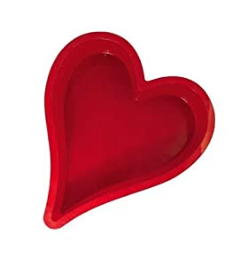 Silicone Zone Heart Cake Pan, Red, Large, 29.5 x 25.7 x 6.2 cm