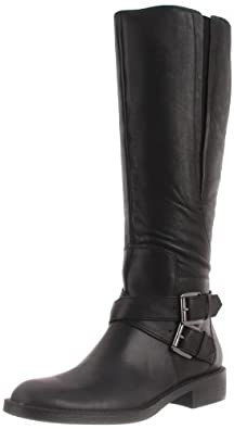 Enzo Angiolini Women's Scarly Wide Calf Boot,Black Leather,6 M US