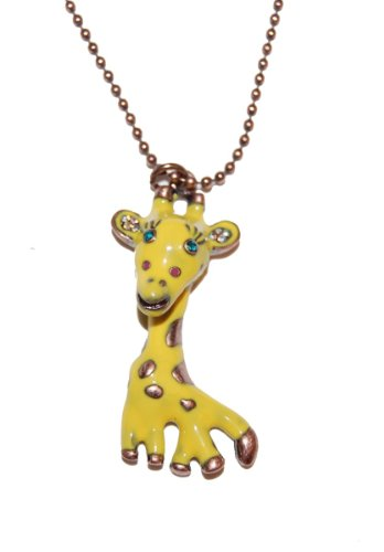 Betsey Johnson Enamel Giraffe Necklace on an Antique Bronze Plated Chain (Gift Pouch Included) Cute & Kitsch Jewellery
