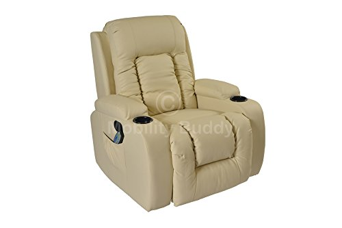 LC7027 Real Bonded Leather Cinema [CREAM] Massage Rocking Swivel Nursing Gaming Recliner Chair