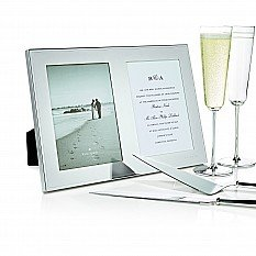 "Double 5""x 7"" Picture Frame Engraved ""Mr. and Mrs."" Holds two 5"" x 7"" photos in Silver plate by Kate Spade"
