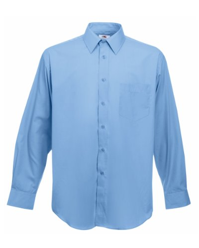Fruit Of The Loom - Camicia Manica Lunga in Popeline - Uomo (XXL) (Azzurro)