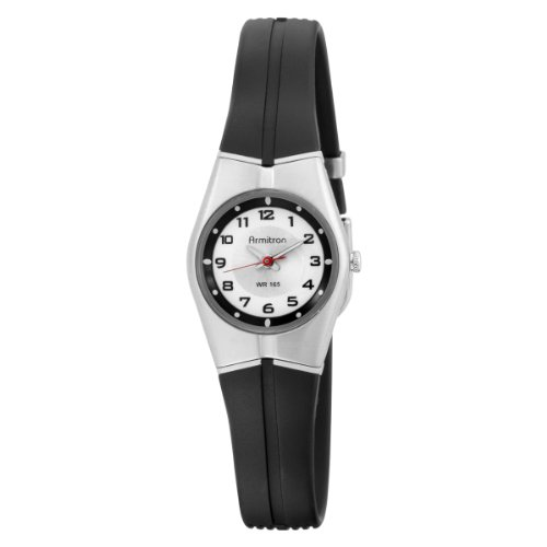 Armitron Women's 25-6355SIL Black and Silver-Tone Easy to Read Sport Watch