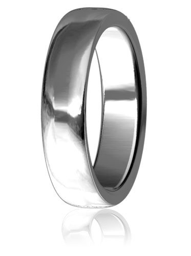 Plain Mens or Ladies Slight Dome Wedding Band, 8mm wide, 2mm thick, comfort fit in Sterling Silver - size 4