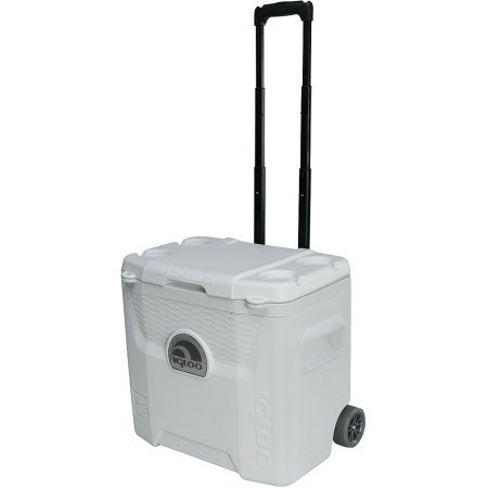 Igloo Cooler with Wheels 28 qt Quantum Ultra Roller Features Locking Telescoping Handle, Molded-in Side Handles and Lockable Lid, White, Perfect for Outdoor Travel or Parties (White Roller Cooler compare prices)
