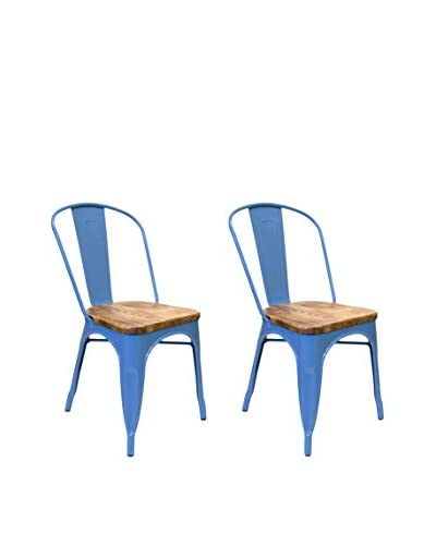 Aeon Euro Home Collection Set of 2 Garvin-2 Chairs with Wood Seats, Blue/Weathered