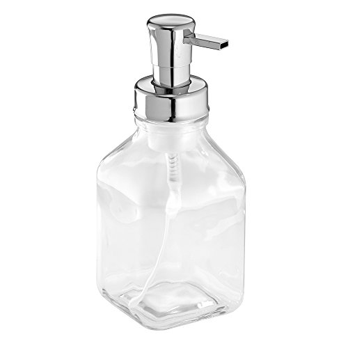 InterDesign Cora Glass Foaming Soap Dispenser Pump, for Kitchen or Bathroom Countertop- Clear/Chrome (Chrome And Glass Soap Dish compare prices)
