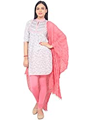 Rama Presents Grey & Pink Color Cotton Kurti With Pink Color Premium Quality Legging And Dupatta Set.