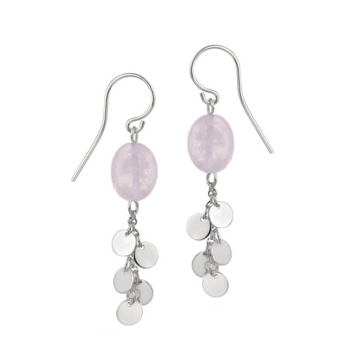 Sterling Silver French Wire Earrings with Amethyst Bead and Silver Disc Drops