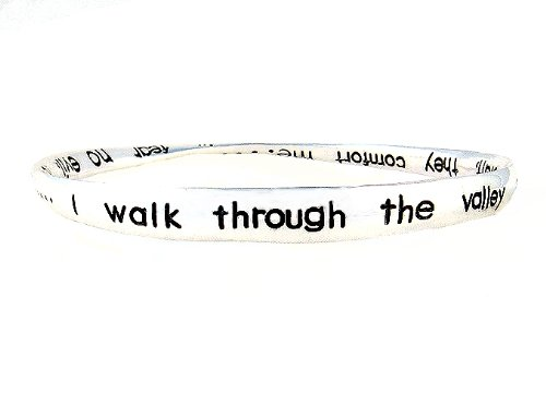 Bracelet - B162 - Bangle Style Inscribed with Psalm 23:4 ~ I Walk Thru the Valley of the Shadow... ~ Silver Tone Metal (68mm)