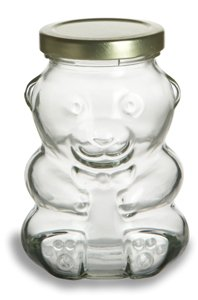 Nakpunar Bear Glass Jar, 9 oz for Jam, Honey, Wedding Favors, Shower Favors, Baby Foods, Coin Bank