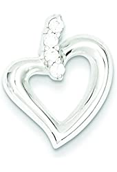 Sterling Silver Polished Cz Heart Pendant