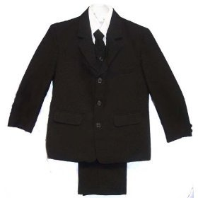 Infants and Toddlers Black or Navy Dress Suit Outfit 5 Piece with Vest, Dress Shirt, and Coordinated Tie (Infants 12 Months NAVY)