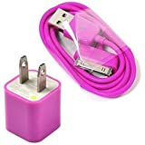 Cosmos Hot Pink Wall Ac Charger Usb Sync Data Cable For Iphone 4 4S 3G/S Ipod + Free Cosmos Cable Tie