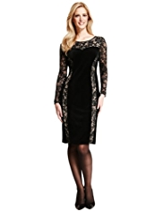 M&S Collection Floral Lace Velour Panelled Bodycon Dress