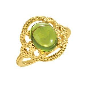 14K Yellow Gold Granulated Design Peridot Ring Size: 11