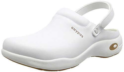 Oxypas Heidi - zuecos de sintético unisex, color blanco, talla 40.5