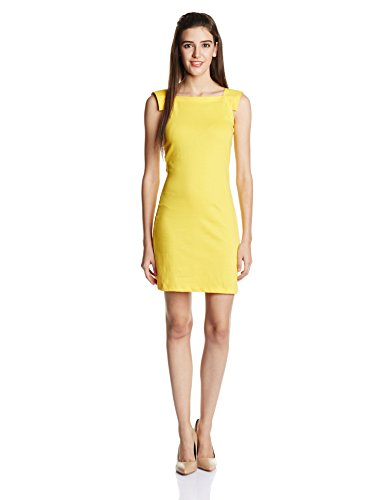 Miss Chase Women's Cotton Body Con Dress (MCAW14D02-60-29-06_Yellow_XL)