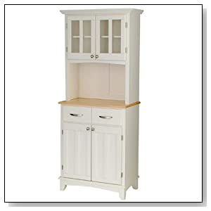 Wood Top Buffet Server and Hutch White Finish