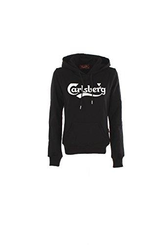 CARLSBERG - Felpa da donna con cappuccio m nero
