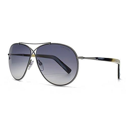 Tom Ford Women's Eva Aviator Sunglasses in Matte Light Ruthenium FT0374 15B 61