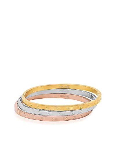 Piatella 3-Piece Tri-Tone Roman Numeral Bangle Bracelet Set
